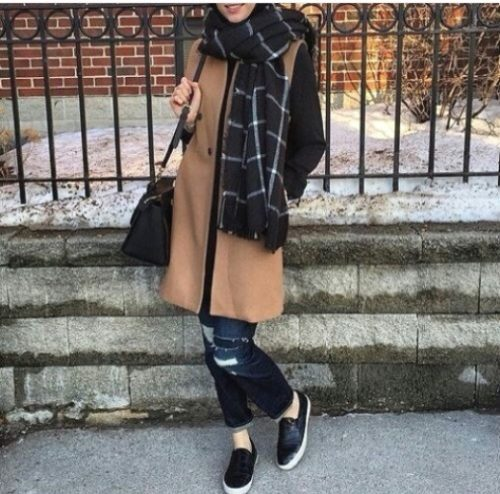 tan trench coat hijab style