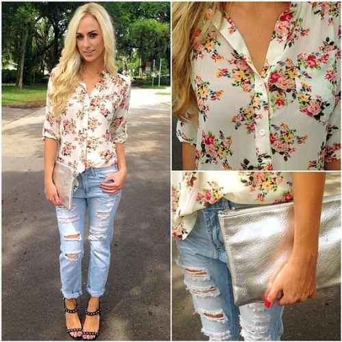 cute floral shirt outfit