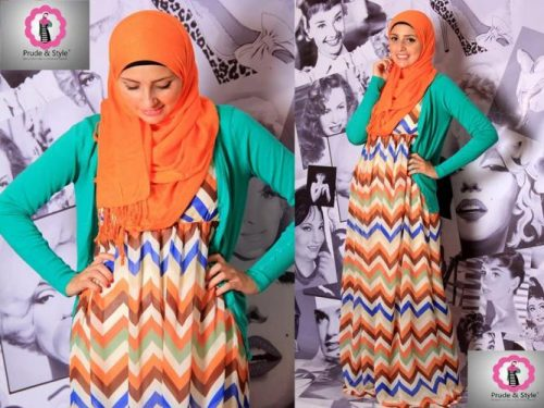 stripped hijab dress 4