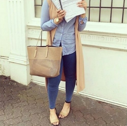tan vest with striped shirt hijab
