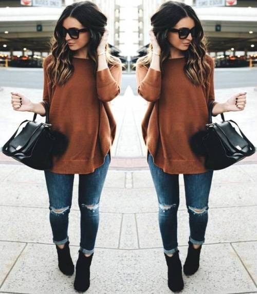 cognac-sweater-with-black-booties