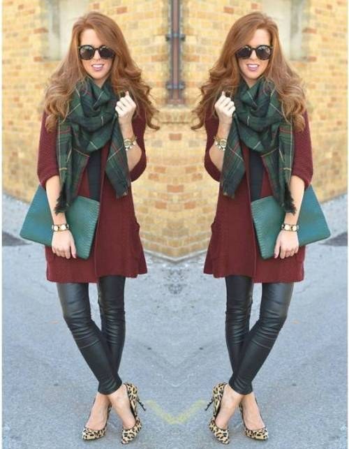 maroon-coat-with-tartan-scarf