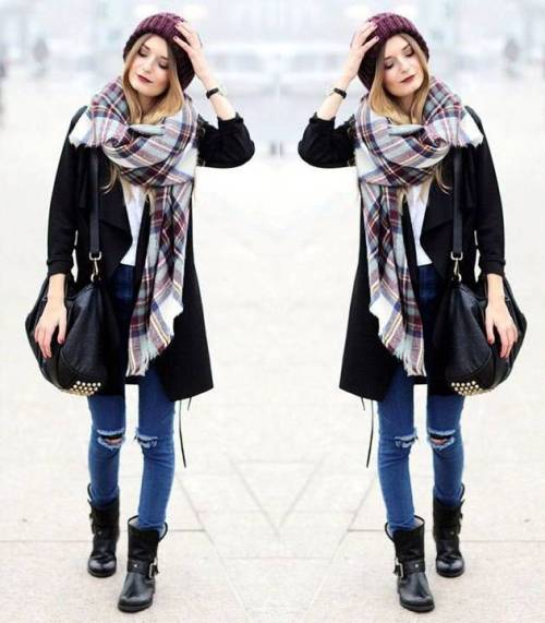 trench-jacket-with-tartan-scarf