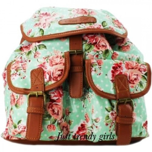 floral mint and coral backpack.