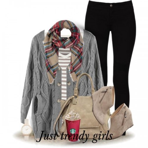 gray knit cardigan with stripe tee