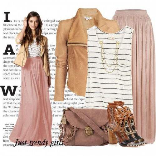 leather jacket with pastel rose maxi skirt