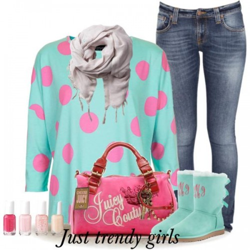 dots sweatshirt outfit