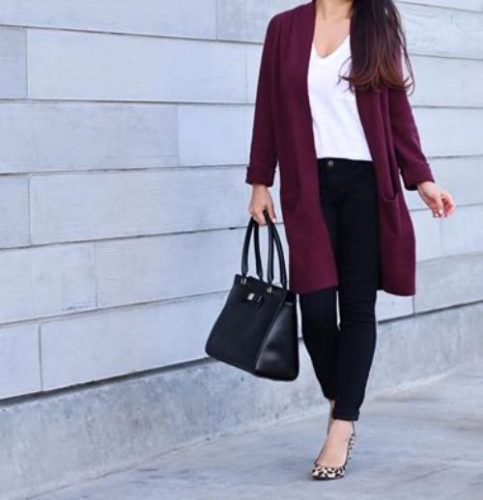 burgundy-cardigan-with-white-tee