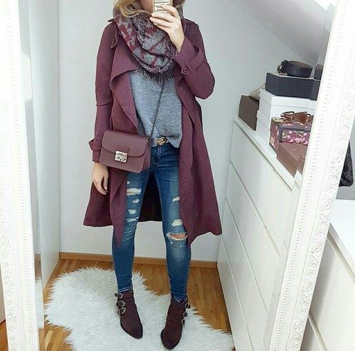burgundy-coat-with-grey-ree-and-blue-jeans