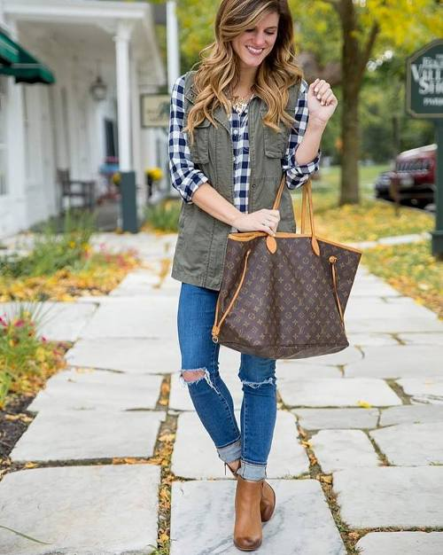 green-cargo-vest-with-plaid-flannel