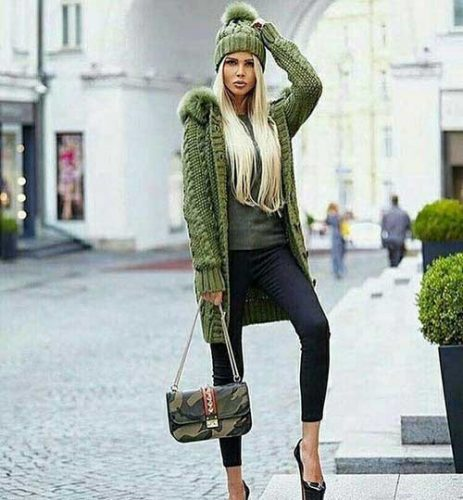 green-knit-long-cardigan-outfit