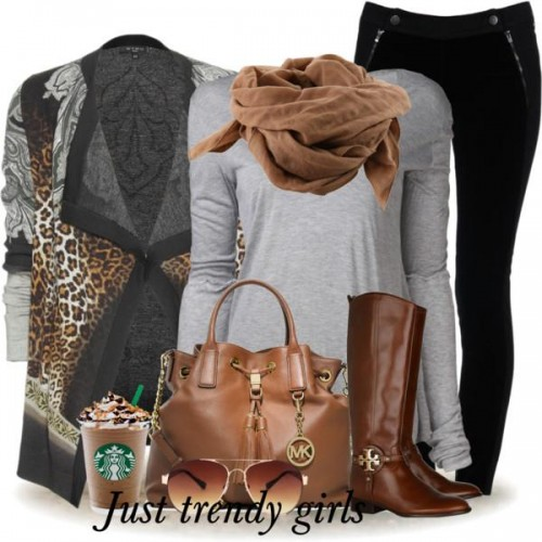 leo cardigan with gray top outfit