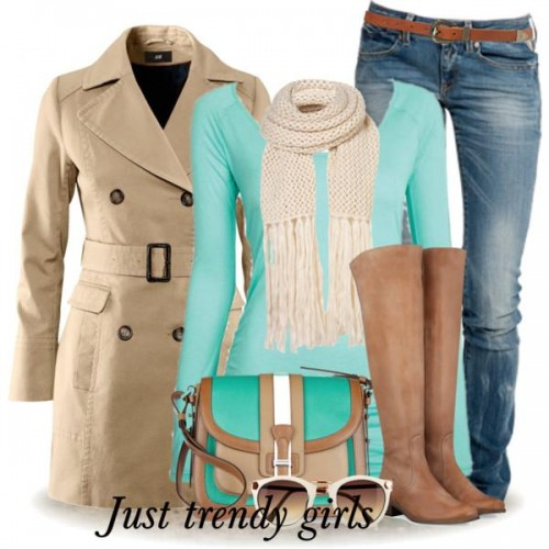 mint top with trench coat outfit