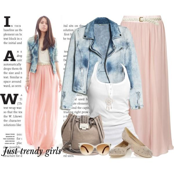 890613b6a6cfd2 ... Just for trendy girls · casual pastel chiffon maxi skirt outfit