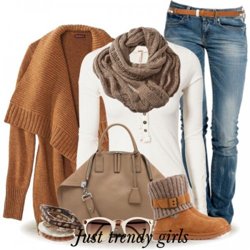 tan knit cardigan outfit