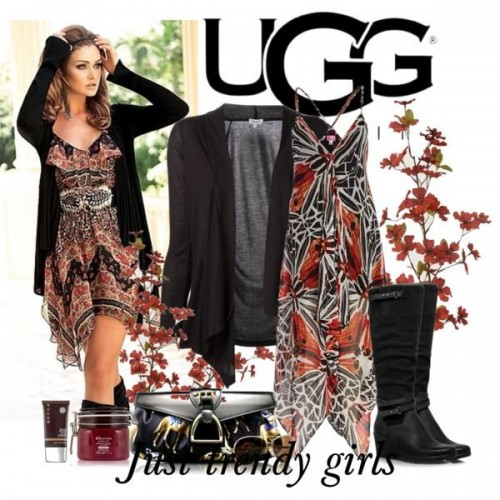 high knee ugg boot in black