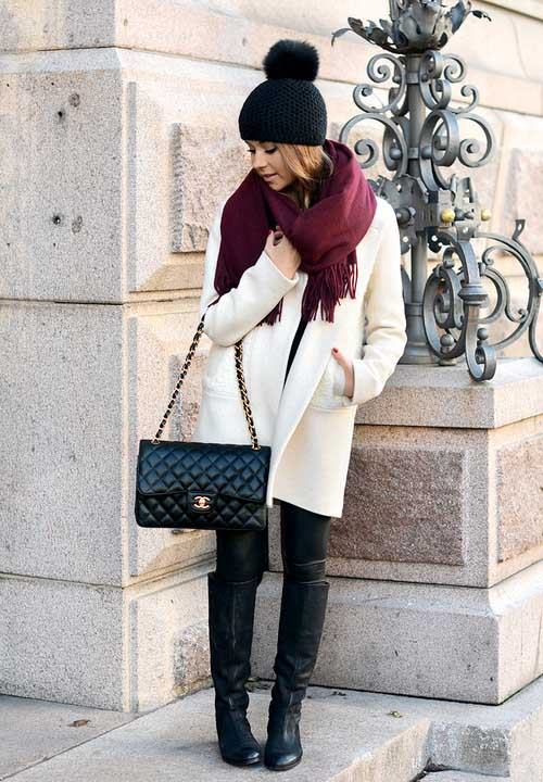 white-coat-with-maroon-scarf-outfit