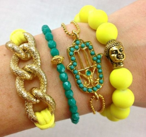 Chunky colored  wrap bracelets