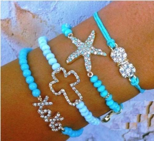 Chunky colored turquoise bracelets