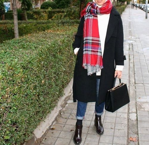 checked-scarf-coat-hijab-style