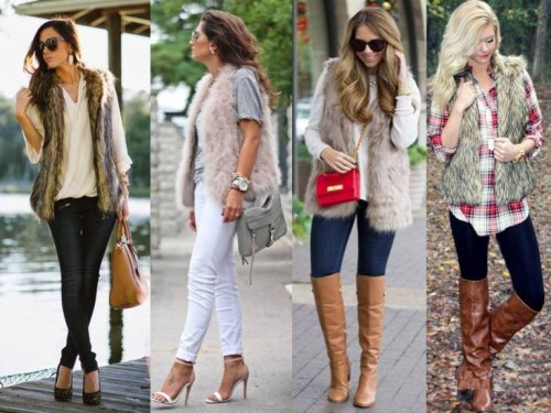 earthy tones fur vests