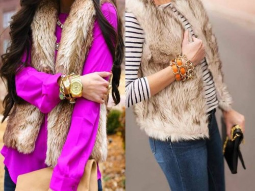 fur vest with stripe top
