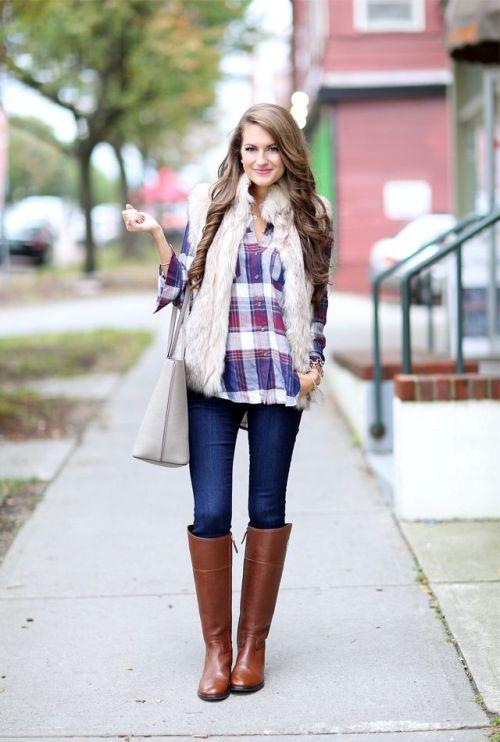 white fur vest with plaid flannel.