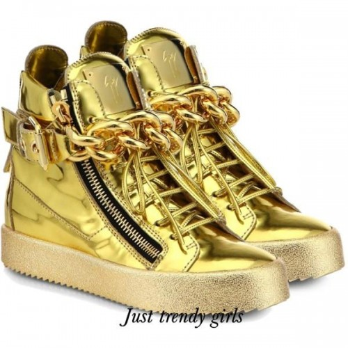 giuseppe Zanotti Embossed Double-Strap Wedge sneakers