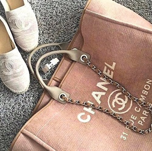 chanal canvas bag and shoes