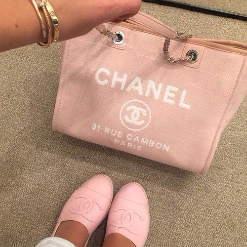 chanel pink canvag bag