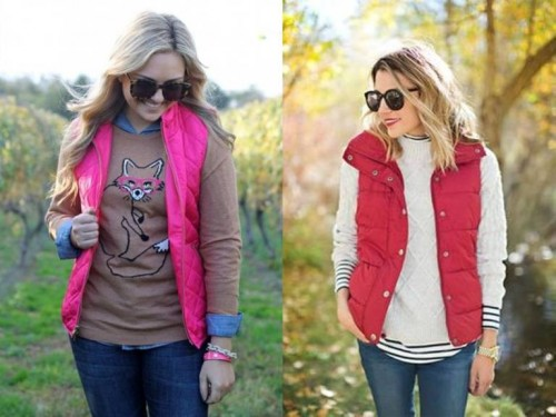 colorful puffer vests