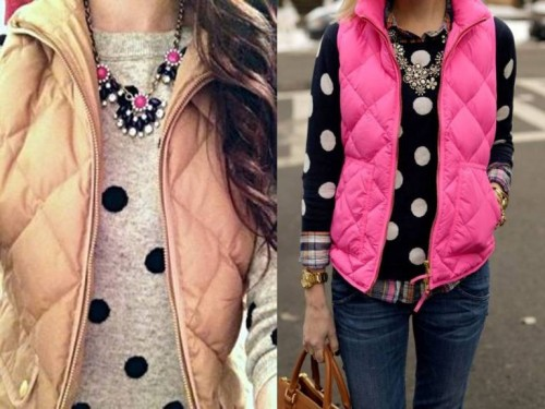polca dots with puffer vests