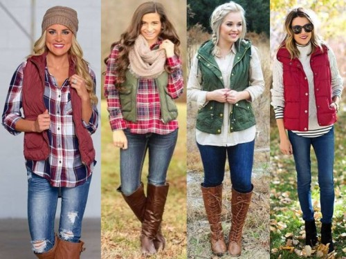 puffy vest with checked shirts