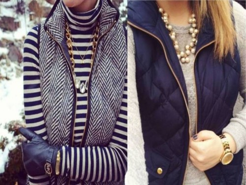 striped tee with puffer vests