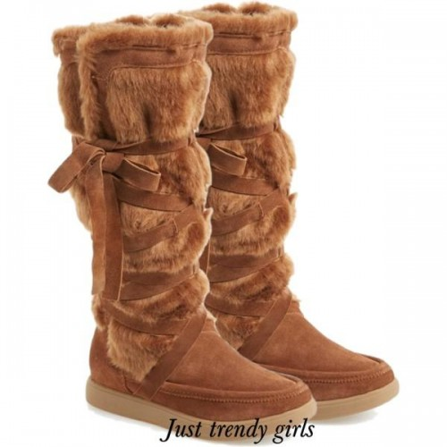 brown, suede fur boots