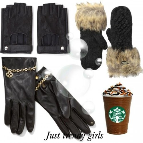 Wool-blend and leather gloves,