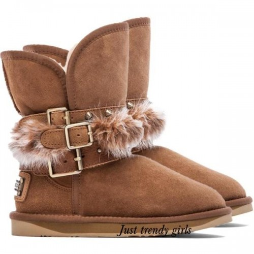 UGG Fox Fur Tall Chestnut Boots