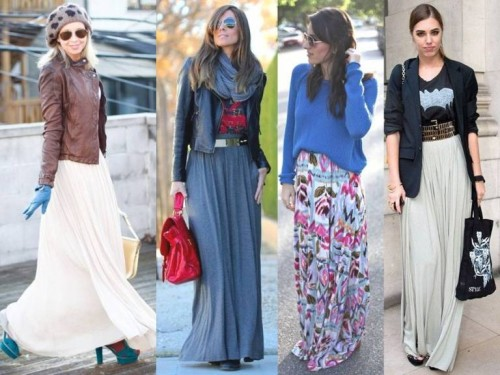 maxi skirts in winter street looks