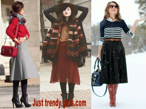 mid length skirt outfits