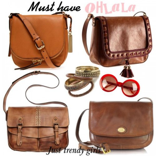 cognac shoulder bags