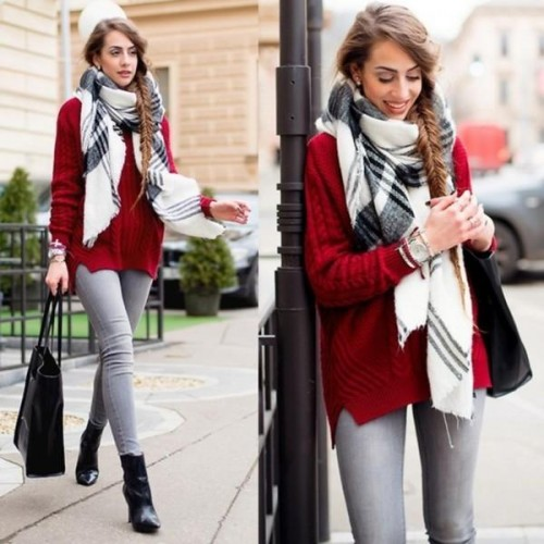 oversize scarf on the street