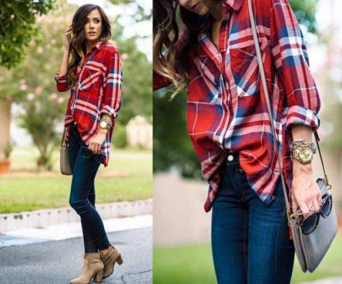 plaid-shirt-with-denim-and-ankle-shoes