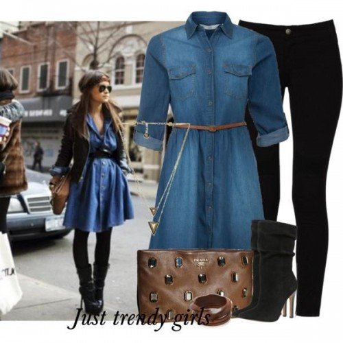 street styles denim dress