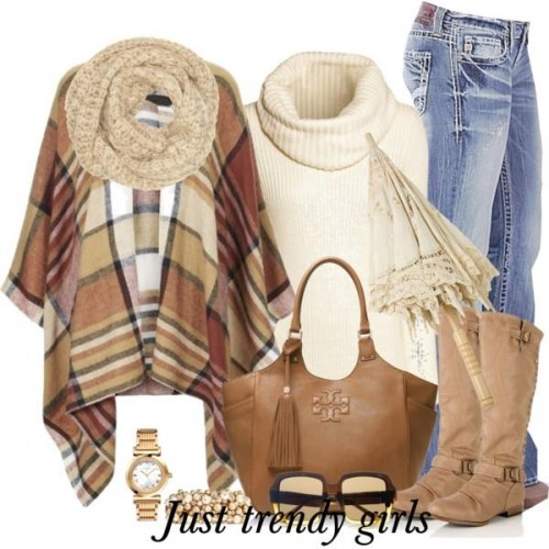 Camel Multi Plaid Poncho by Happily Grey,