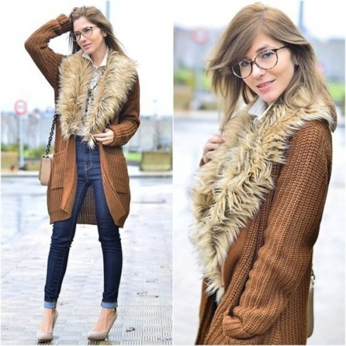 fur knitted cardigan outfit