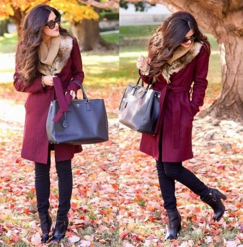 maroon coat with fur cowl