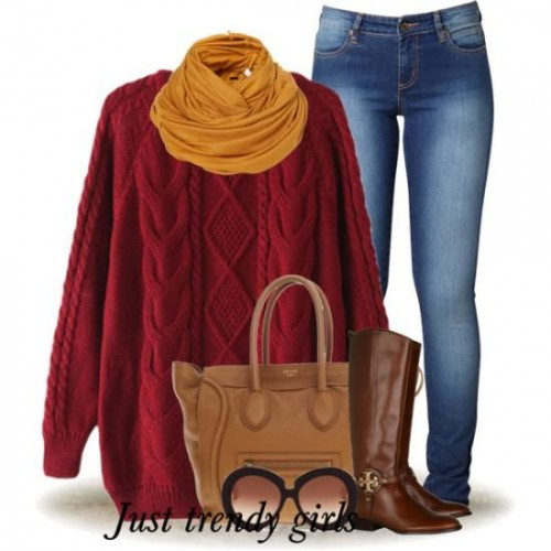 Burgundy sweater outfit