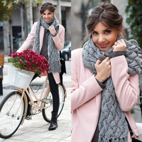 pink coat and gray scarf