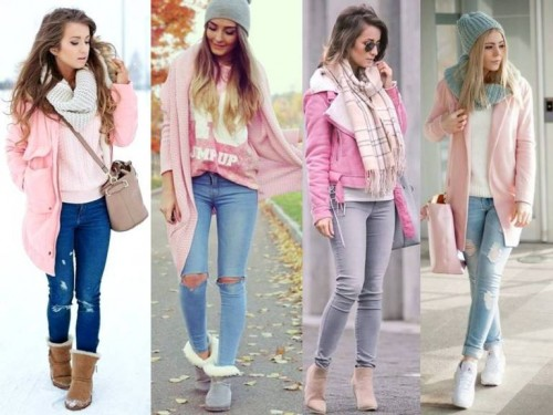 pink outwear street looks