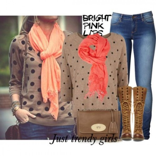 dots sweater with pop up scarf